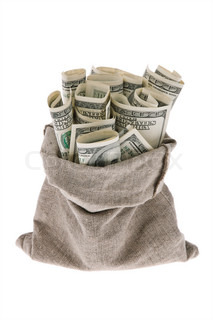 Many dollar bills in a bag on a white background
