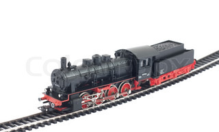 Toy steam locomotive on white background
