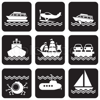 marine vessels and transport icons