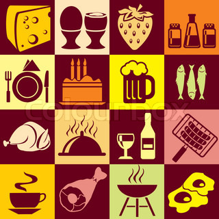 colorful symbols of food and beverages