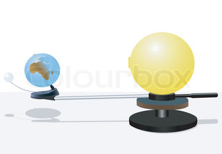 Illustration of model of the sun and the earth with the moon