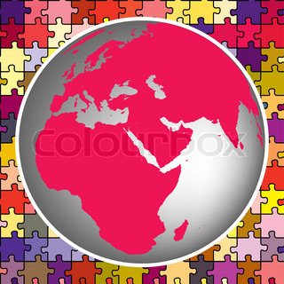 earth globe against puzzle background, abstract vector art illustration