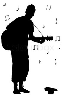man with guitar silhouette, abstract vector art illustration