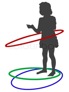silhouette of girl playing with circles against white background, abstract vector art illustration