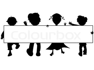 kids silhouettes banner against white background, abstract vector art illustration