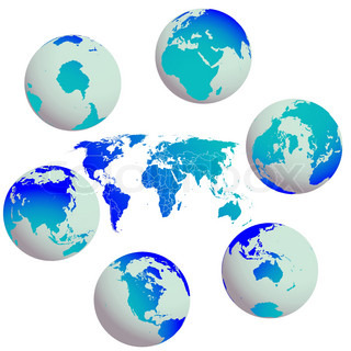 earth globes and world map against white, abstract vector art illustration