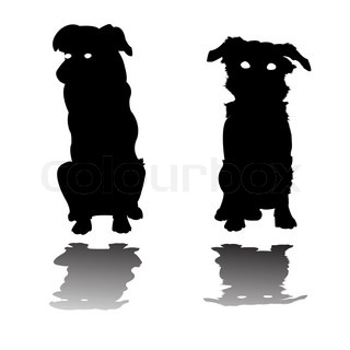 two little dogs silhouettes, art  illustration