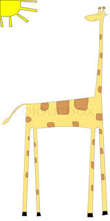 Cartoon of giraffe isolated on white background, art illustration, please see more animal drawings in my gallery
