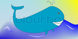 Cartoon of a whale, art illustration.For more animal drawings, please see my gallery.