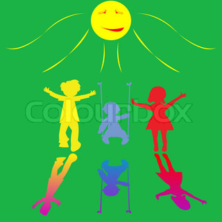 happy little children playing on sunny background, abstract vector art illustration