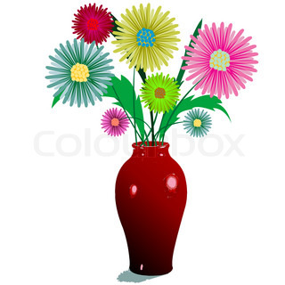 flowers and vase composition, isolated on white; abstract vector art illustration