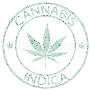 cannabis indica stamp isolated on white background, abstract vector art illustration