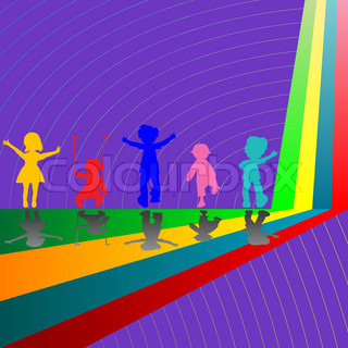 silhouettes of children playing on purple background, abstract vector art illustration