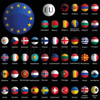 europe glossy icons collection vor schwarzem Hintergrund , abstrakte Vektorillustrationen