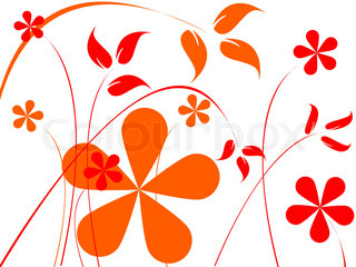 orange and red flowers composition, abstract vector art illustration