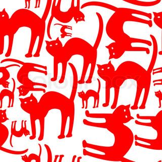 red cats pattern isolated on white background, abstract vector art illustration