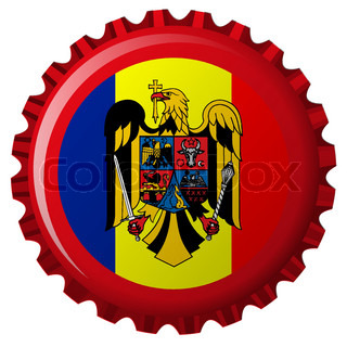 germany flag with coat of arms against bottle cap, isolated on white background, abstract vector art illustration