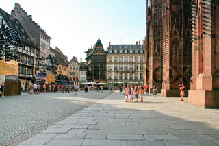 The cathedral square and Kammerzell Houseon July 11, 2010 in Strasbourg, France