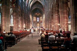 church service in Cathedrale Notre-Dame, Strasbourg, France on July 11, 2010