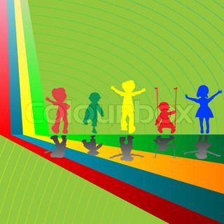 silhouettes of children playing, abstract vector art illustration