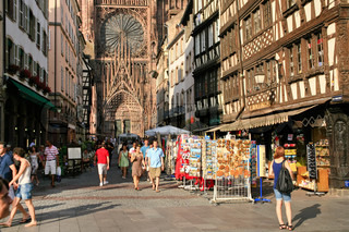 around Cathedrale Notre-Dame in Strasbourg, France on JuLy 11, 2010