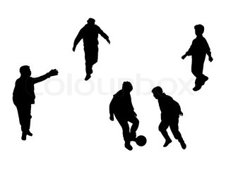 football players silhouettes over white background, abstract vector art illustration