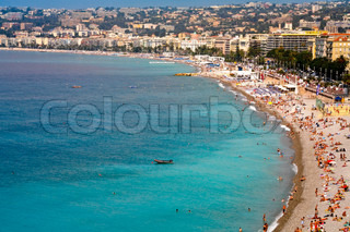 view on famous Azure coast on July 6, 2008 in Nice, France
