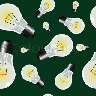 light bulbs seamless texture, abstract pattern; vector art illustration