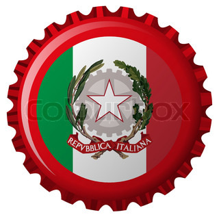italy abstract flag on bottle cap, isolated on white background; vector art illustration