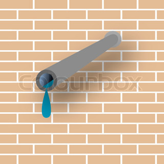 pipe, wall and water, vector art illustration