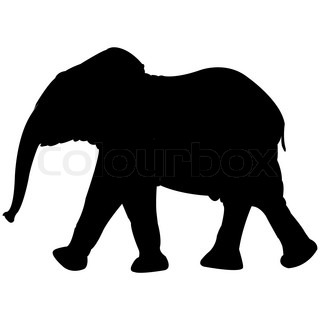 baby elephant silhouette isolated on white background, abstract vector art illustration