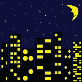 city in night, abstract art illustration