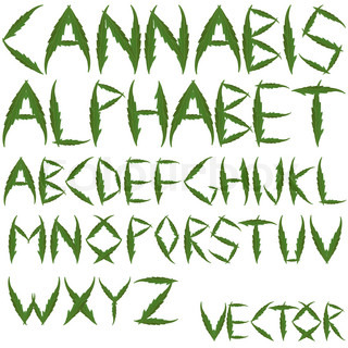 cannabis leafs alphabet against white background; abstract art illustration