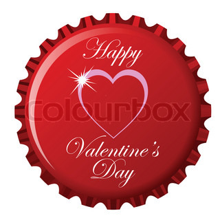 happy valentine's day theme on bottle cap against white background, abstract art illustration
