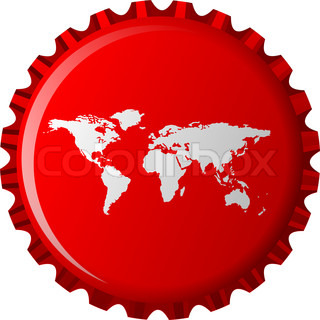 white world map on red bottle cap, abstract object isolated on white background; art illustration
