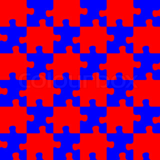 Seamless red and blue puzzle abstract art illustration for Peculiarity crossword clue