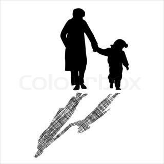 woman and child silhouettes with striped shadow, abstract art illustration