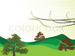 trees landscape, abstract art illustration