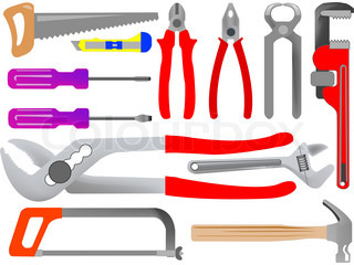 hand tools isolated on white background, abstract art illustration