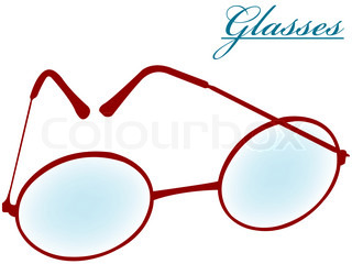 round glasses isolated on white background, abstract art illustration