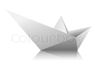 Boat from a sheet of white paper on white background. Vector.