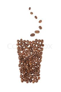 Cup fra korn af kaffe.