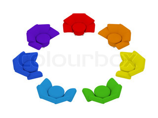 seven heterochromatic armchairs in circle on white background 3d render