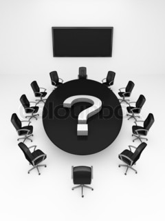 Round conference Table on white - 3d render