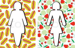 Diet. Women's silhouettes on the background of food. Vector image.