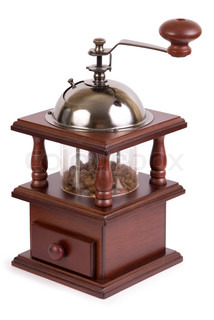 Manual brown wooden coffee grinder isolated