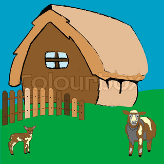 village house and farm animals, art illustration; more drawings in my gallery