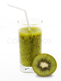 Healthy kiwi smoothie in glass with slice of kiwi  on light background