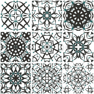 Cute Mexican Stylized Talavera Tiles Seamless Pattern Background - Black and white talavera tile