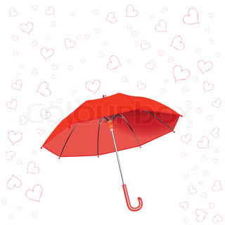 hearts fall and umbrella against white background, abstract art illustration